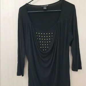 Willi Smith Womens Large Black Blouse Gold Studded